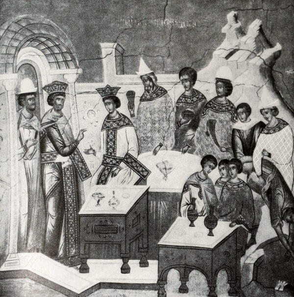 Деталь фрески Ферапонтова монастыря работы Дионисия. 1500 год.
