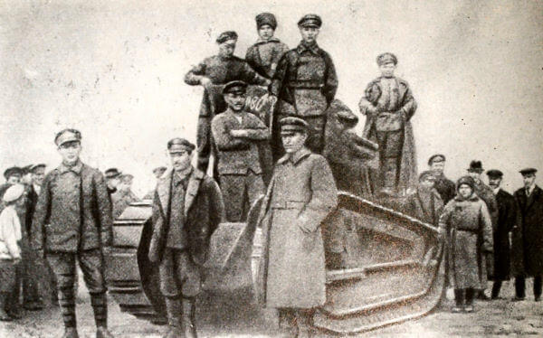 Французский танк, захваченный у станции Березовка. Фотография 1919 года.