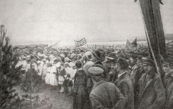 Митинг, посвященный открытию Каширской электростанции. Фотография 1922 года.