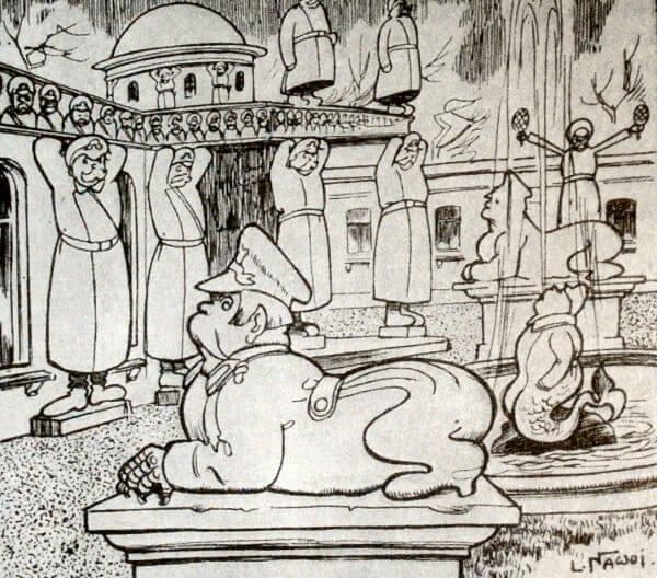 Проект новой Думы. Каррикатура из польского журнала: Новы свят. 1906 год.Проект новой Думы. Каррикатура из польского журнала: Новы свят. 1906 год.