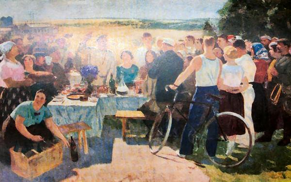 Колхозный праздник. С. В. Герасимов. 1937 год.