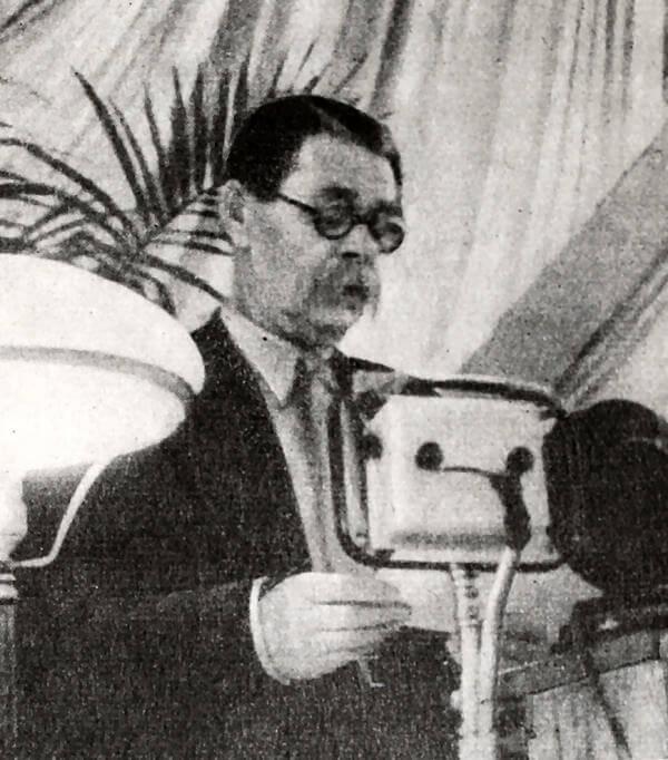 А. М. Горький на трибуне I Всесоюзного съезда советских писателей. Фотография 1934 года.