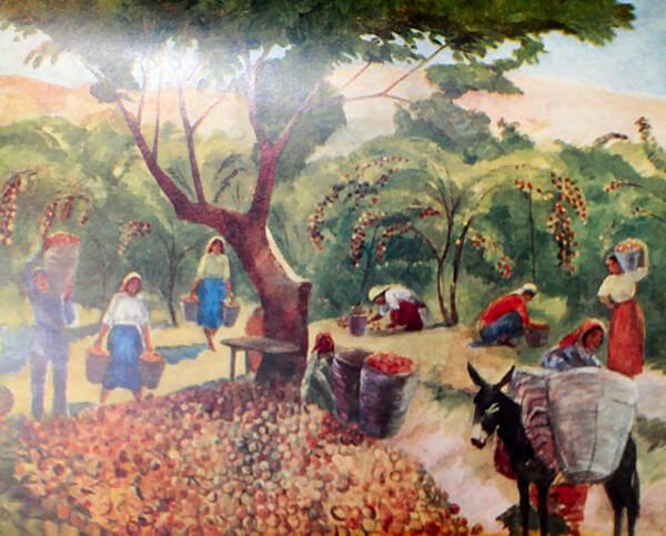 Сбор персиков. М. С. Сарьян. 1938 год.