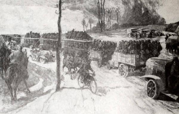 Отправка немецких войск на фронт. Рисунок А. Либинга. 1914 год.
