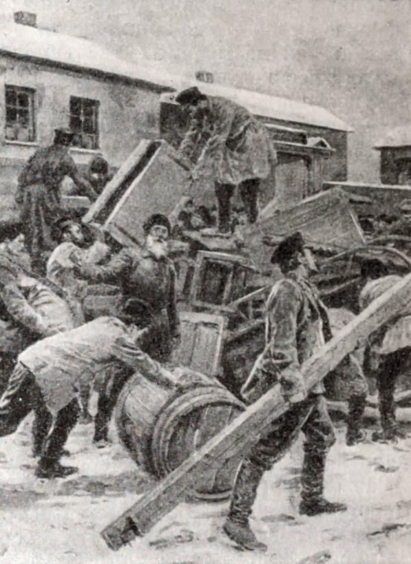 Постройка баррикад на Васильевском острове в Петербурге. Гравюра 1905 года.